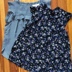 Lot 2 sleeveless dressy tops blouses LOFT